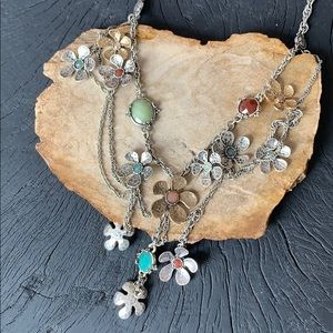 Lucky brand silver layered daisy flower necklace